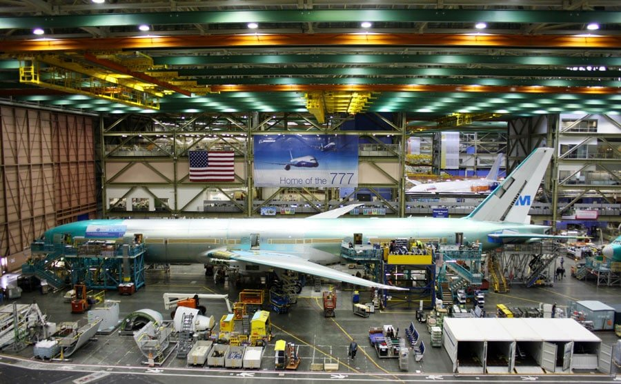View of Boeing 777 being build by the employees at its Everett Factory