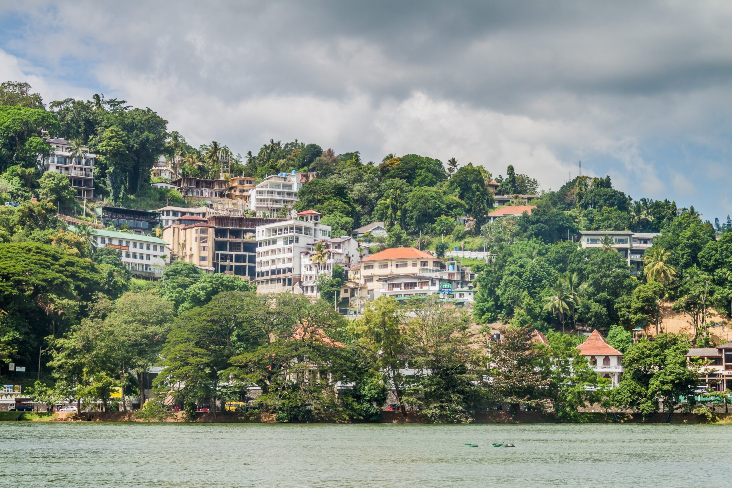 houses on slopes in a lake in Kandy Sri Lanka