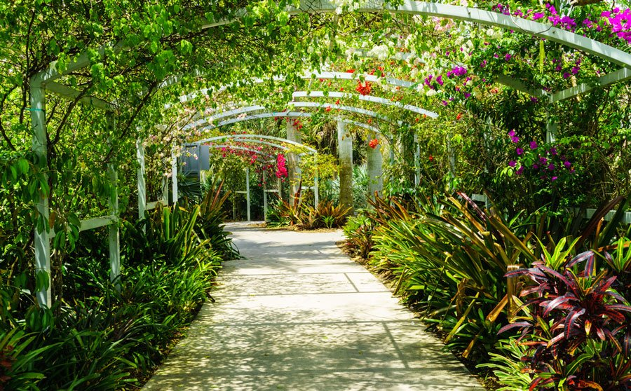 View of flower arch in Botanical Gardens in Naples