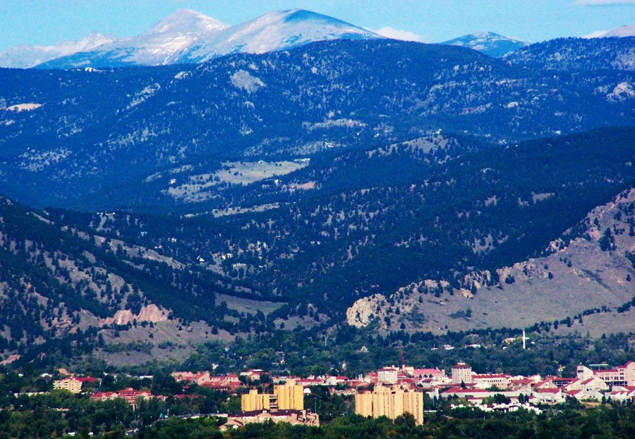 Aerial view of Boulder Colorado and mountains around it