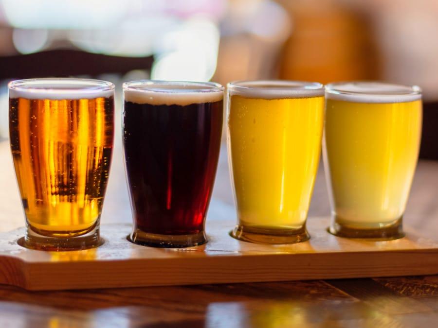 Flight of four craft beers in Denver