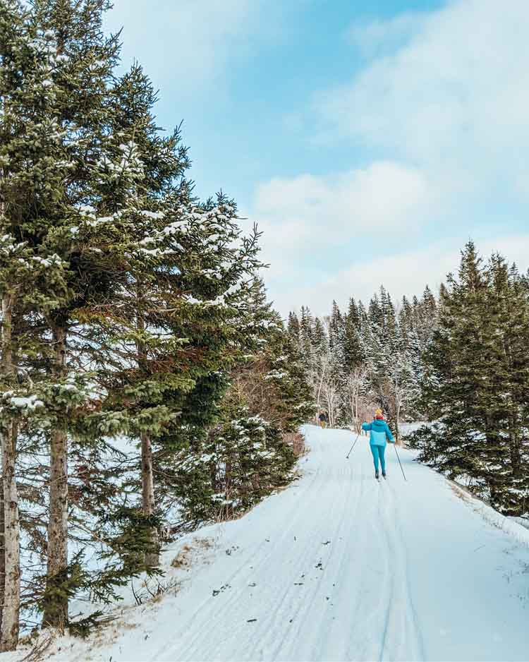 Woman skiing at Cabot Trail in winter