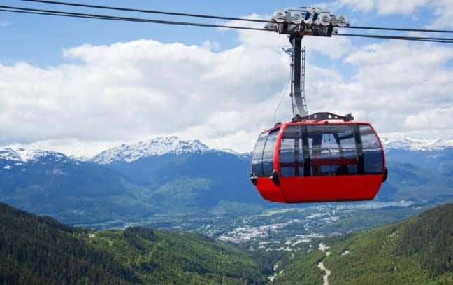Cable car against mountainscape in Whistler Mountain in British Columbia