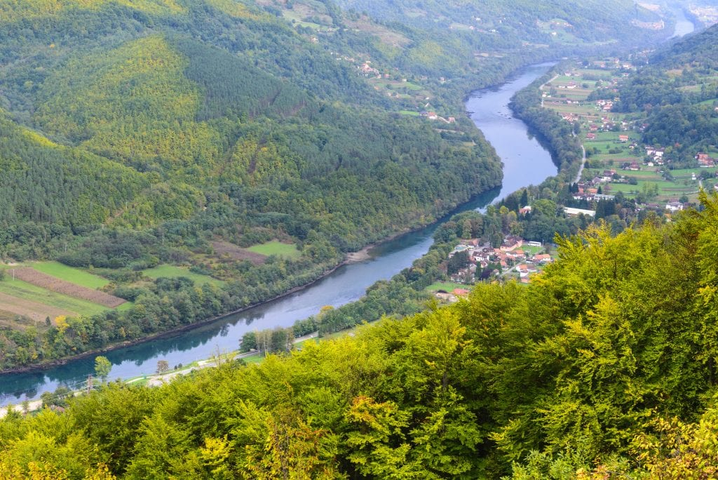 River running through Serbian countryside