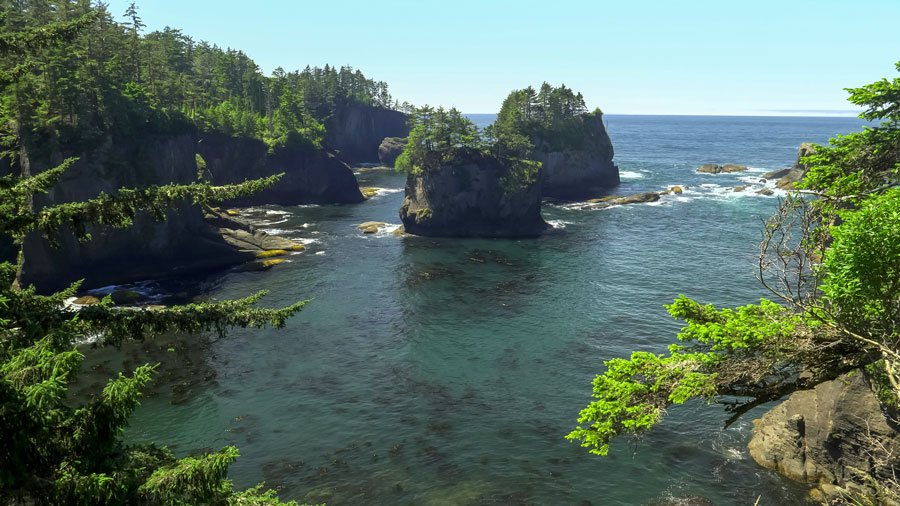 View of cape flattery with its sea stacks on it
