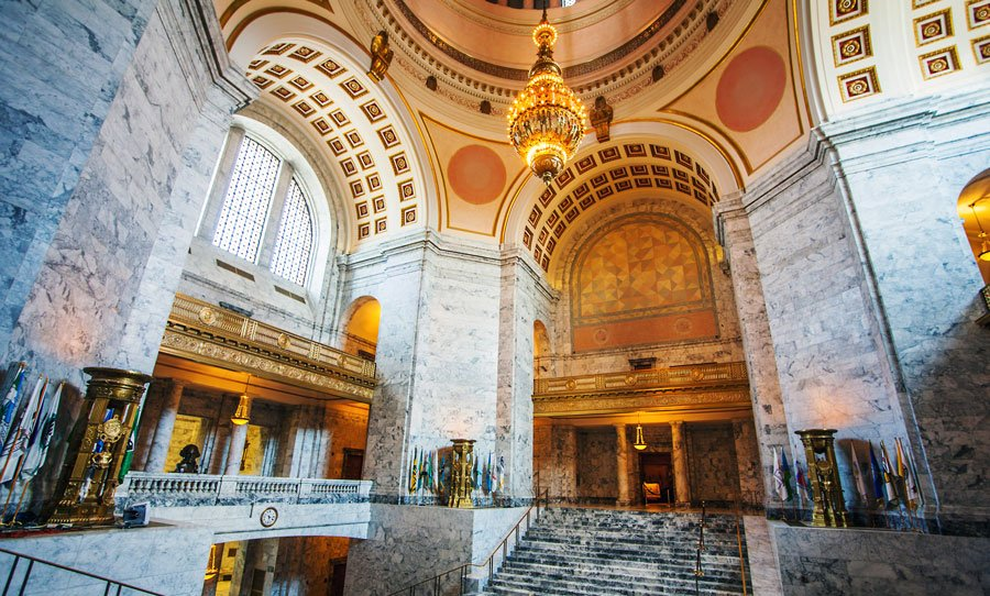 View of the Washington State Capitol from the inside