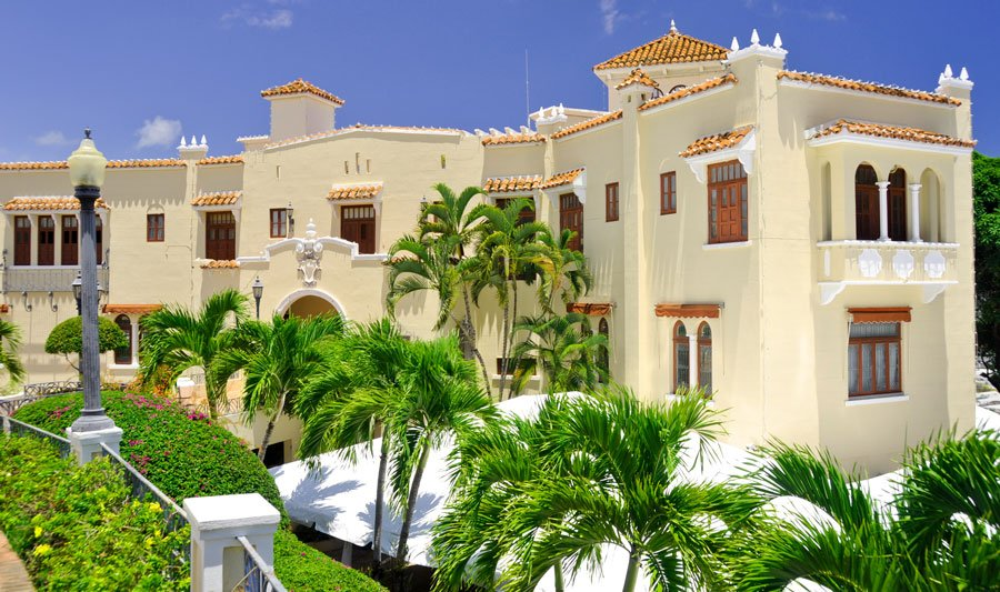 View of the Castillo Serralles Mansion from the outside