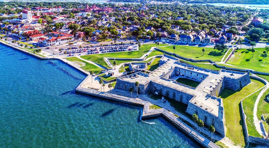 Aerial view of the Castillo de San Marcos in St. Augustine