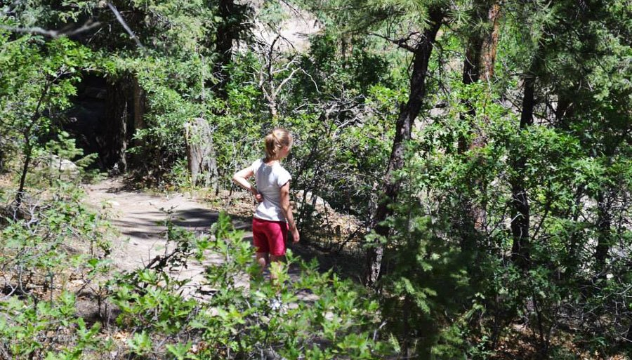 View of the author's daughter in Castlewood Canyon with lots of trees around her
