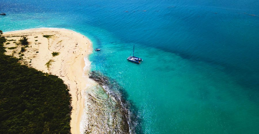 Aerial view of an isolated beach in Icacos