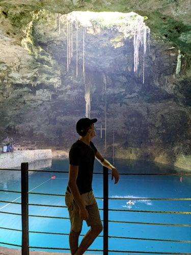 The author enjoying the peaceful view of Cenote Hubiku