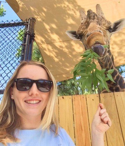 View of the author feeding a giraffe at the Central Florida Zoo
