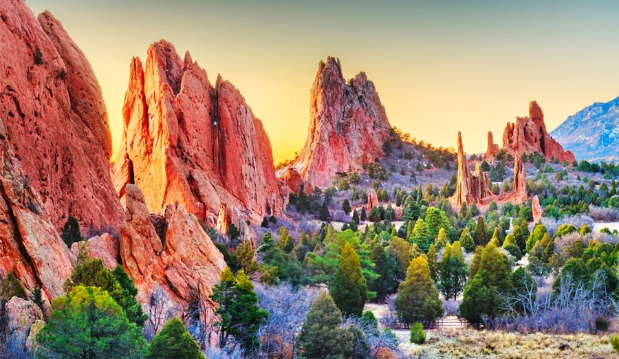 View of the rock formations in Garden of the Gods