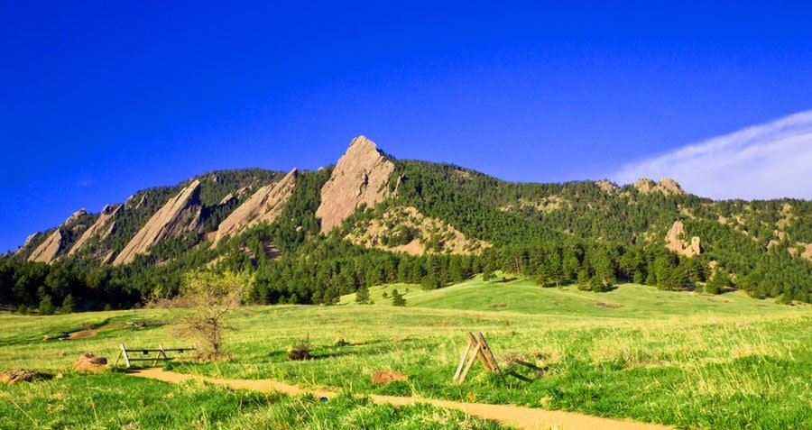 View of flatirons mountains from Chautauqua Park