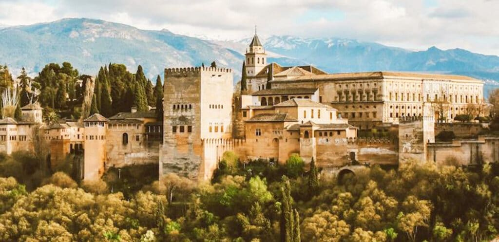 View of the Alhambra Palace in Europe