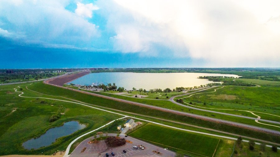 Aerial view of the cherry creek reservoir