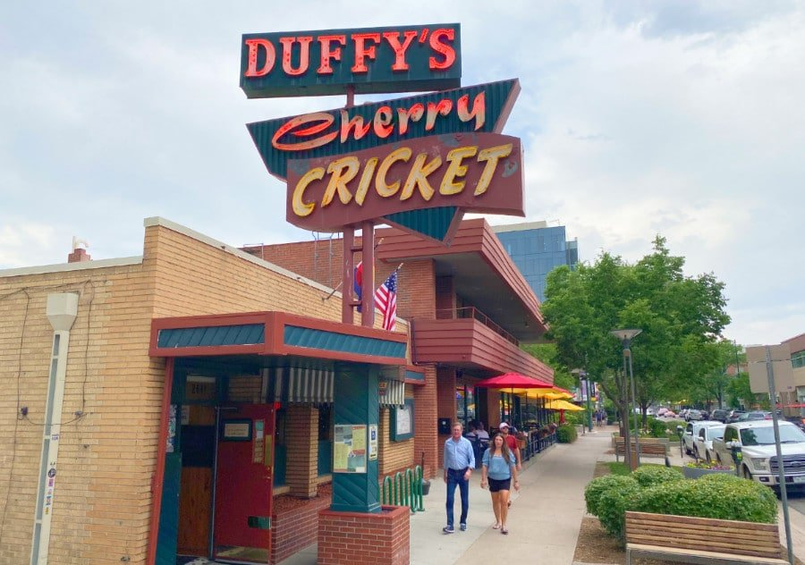 View of the sign at the Cherry Cricket in Denver's Cherry Creek neighborhood