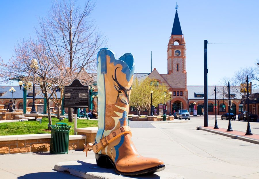 View of a big boots in the historic downtown of Cheyenne Wyoming
