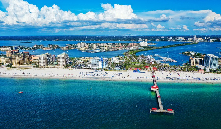 Aerial view of the Clearwater Beach