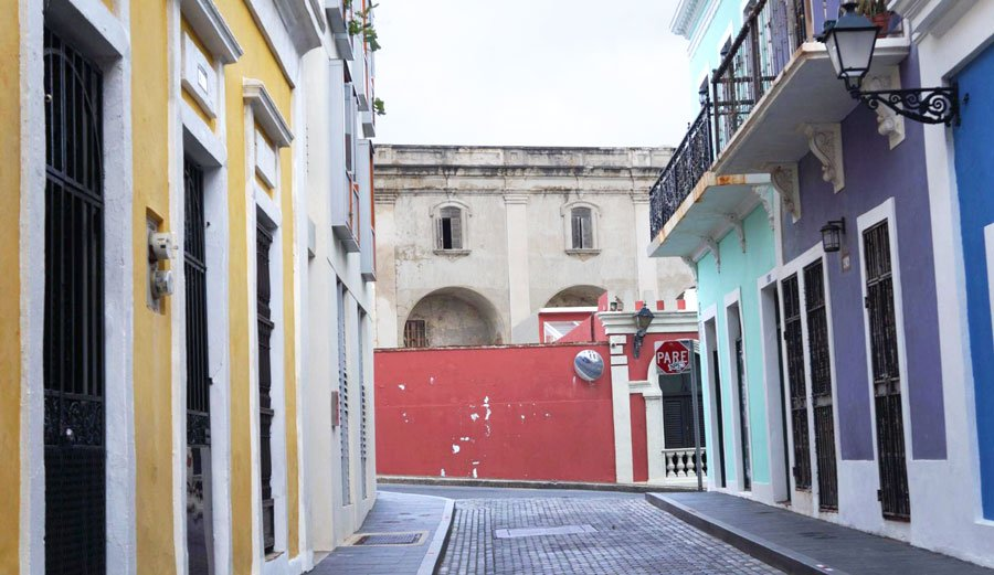 The Cobblestone street in Old San Juan with colorful houses