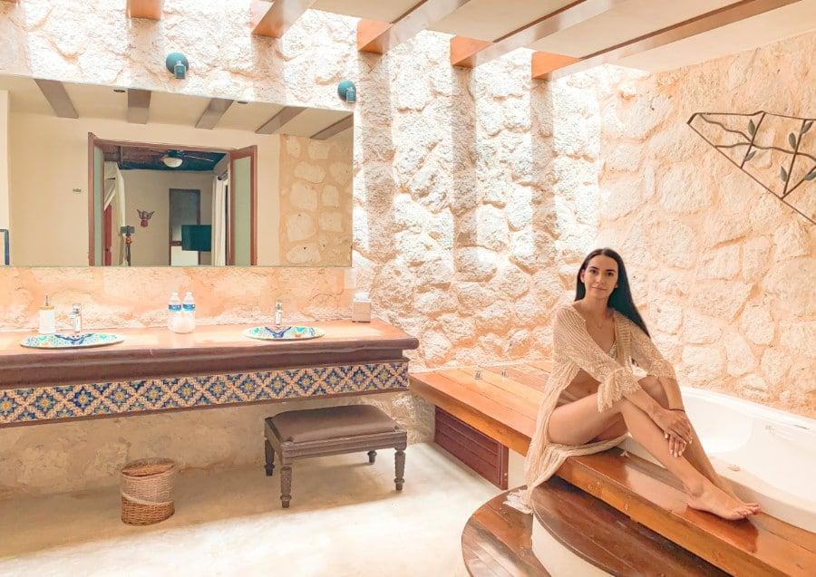 Clara in the bathrooms at Coco Hacienda Tulum