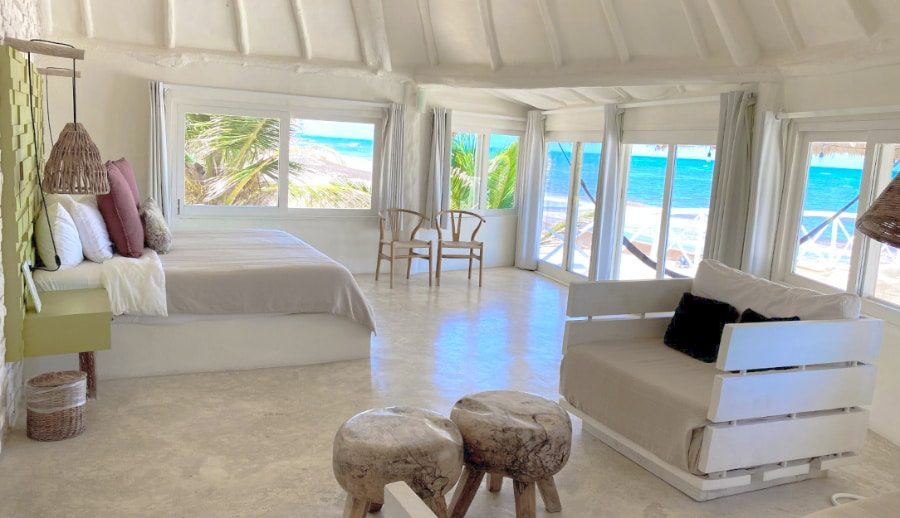 View of a room by the beach at the Coco Limited hotel in Tulum, Mexico
