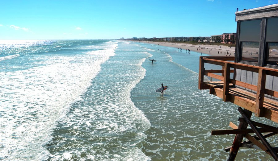 View of surfers in the Cocoa Beach in Florida