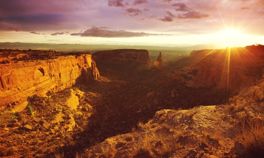 Scenic view of rocky mountains in Colorado National Monument at sunset