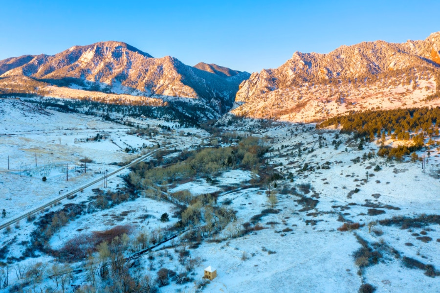 View of mountains with snow covered land near Eldorado Canyon State Park in Colorado