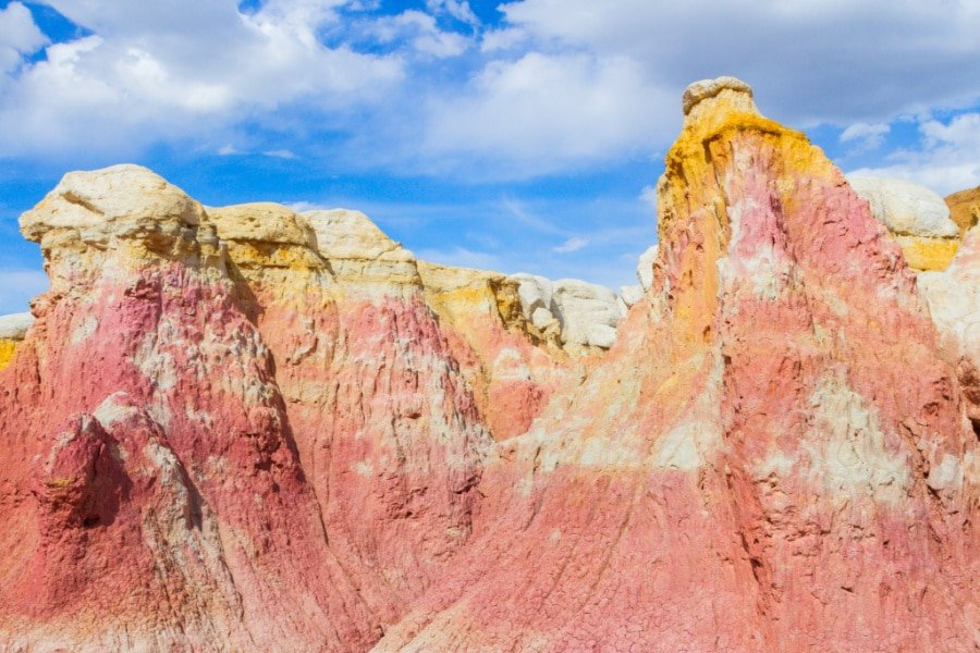 View of colorful rock formations at Paint Mines Interpretive Park