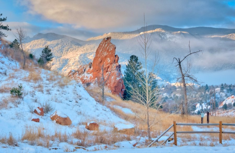 View of Red Rock Canyon during snow