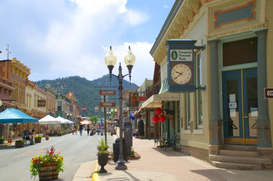 View of store fronts in downtown Idaho Springs