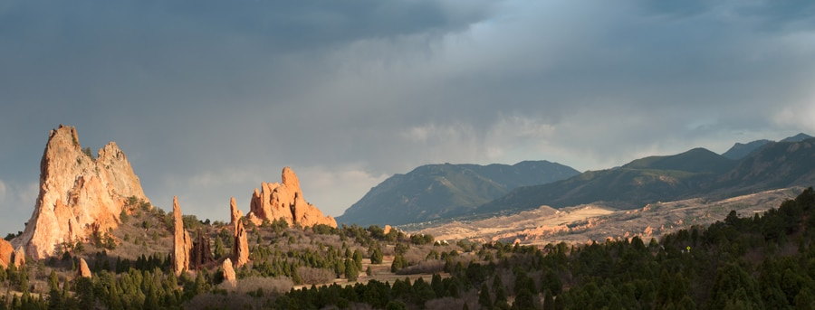 Panoramic view of the Garden of Gods in Colorado Spring