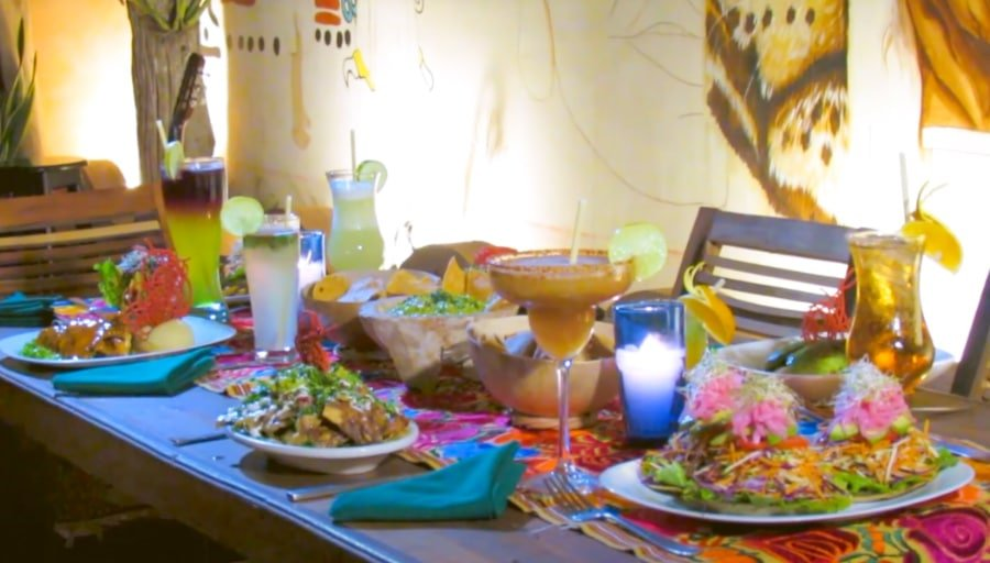 A table of traditional Yucatan dishes at Conato Cultural 1910 restaurant