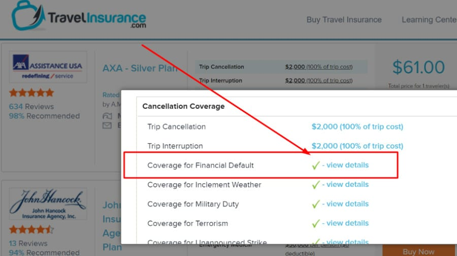 Picture of travel insurance search for financial default coverage