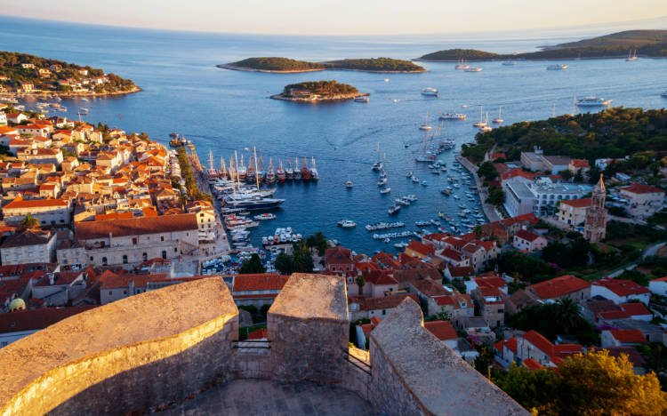 View of Hvar town and sea