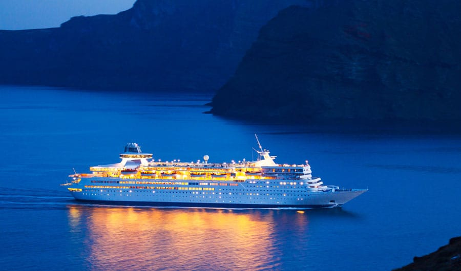 View of a luxury cruise ship on the sea before night