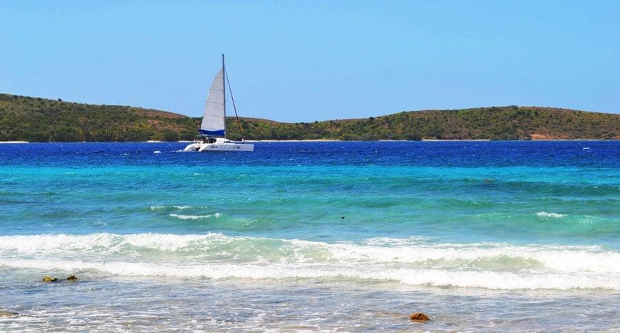 View of a sailing boat in Culebra