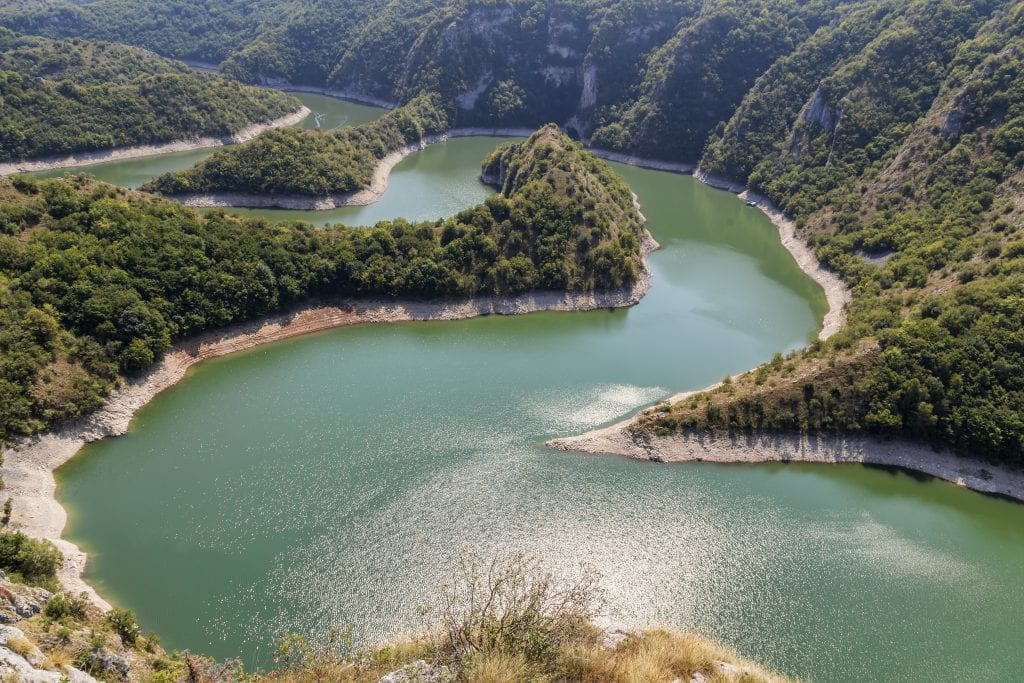 Curves of Uvac river canyon at Special Nature reserve Uvac, Serbia.