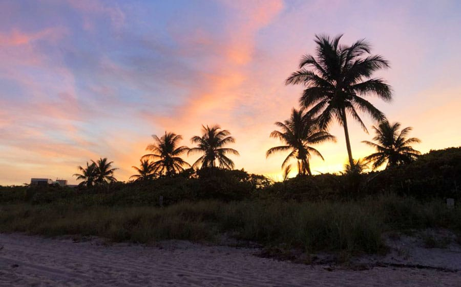 View of the colorful sunset in Dania Beach