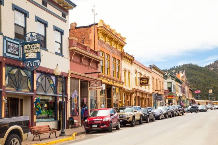 View of main strip of downtown Idaho Springs
