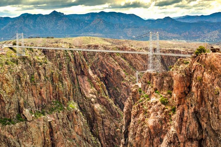 View of the Royal Gorge Suspension Bridge near Canyon City Colorado