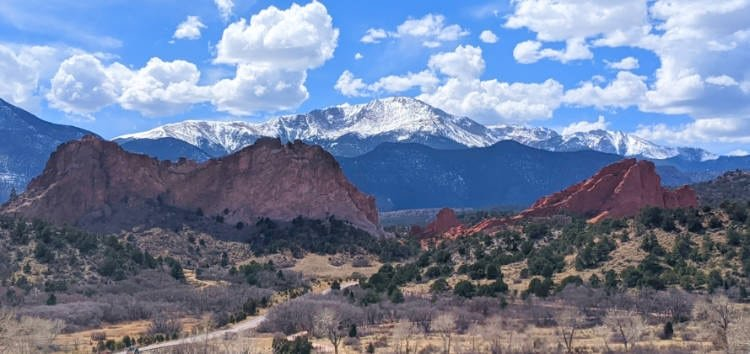 View of Garden of the Gods with Pikes Peak in the background