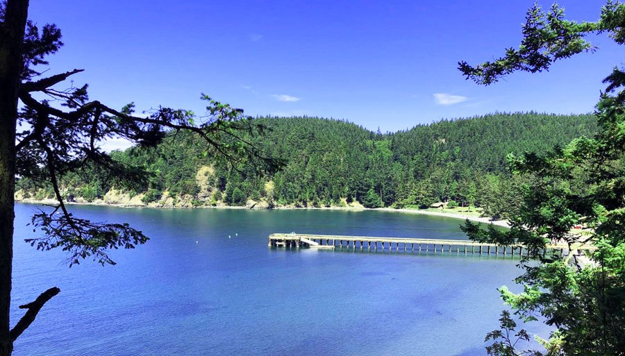 View of a blueish water and a pier in Deception Pass State Park