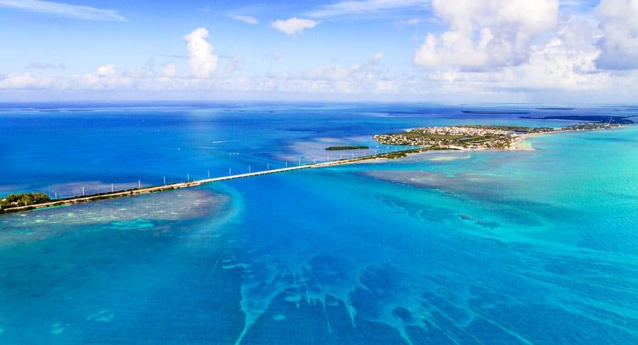 Aerial view of Florida Keys and a bridge