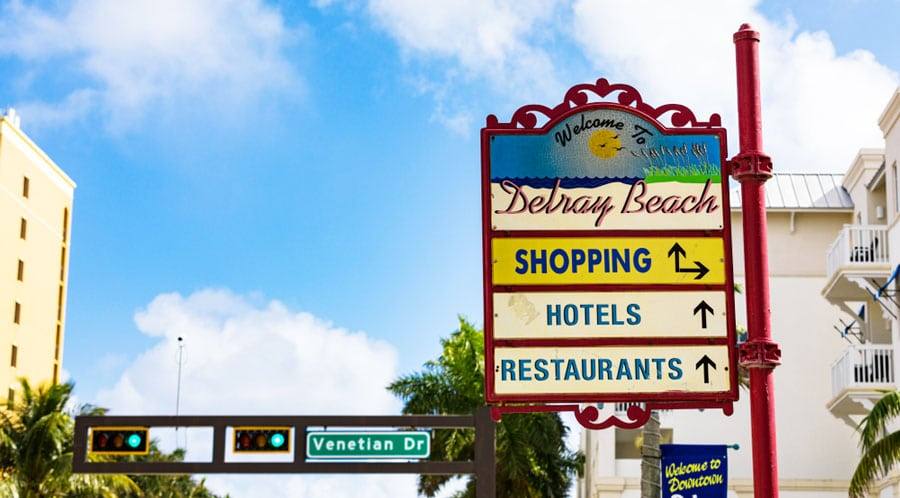 View of the Delray Beach welcome sign