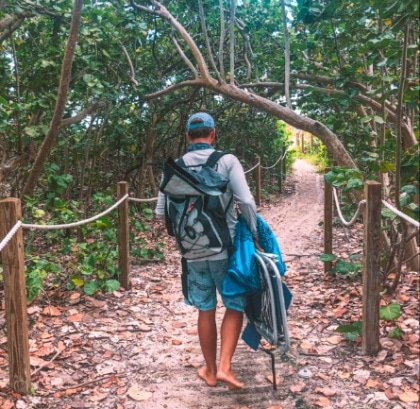 The author walking along a path to Delray Beach