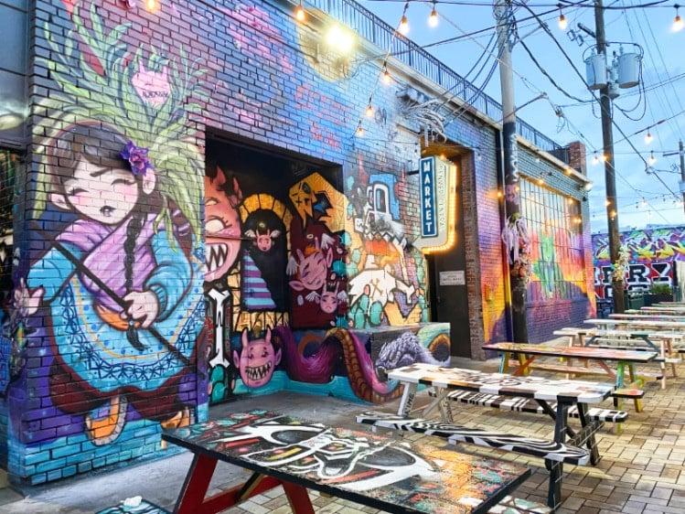Colorful street art in RiNo district Denver