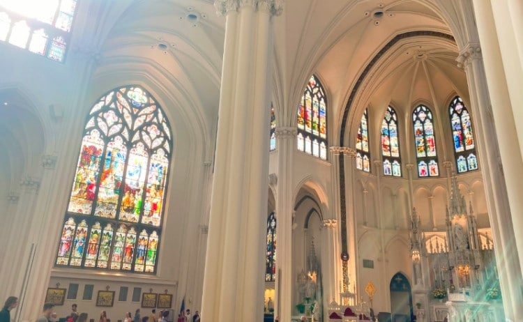 Interior stained glass at Denver's main cathedral