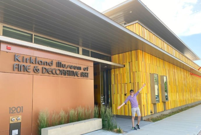 The author standing in front of the Kirkland Museum in Denver